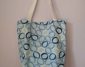Medium Canvas Tote Bag - Blue Circles Pattern