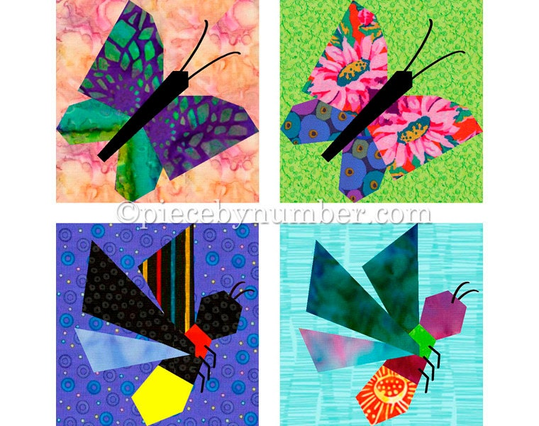 Butterfly & Firefly quilt block patterns paper pieced quilt : paper piece quilt patterns - Adamdwight.com