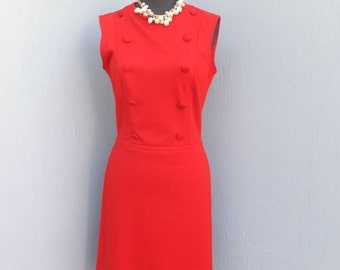 Vintage Dress, CATALINA  Sleeveless, Double Breasted Knit, Red, size 9/10