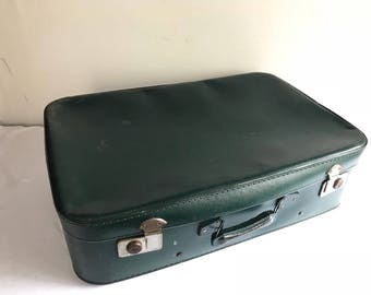 Old green travel trunk suitcase + Vintage decorative Metal handle