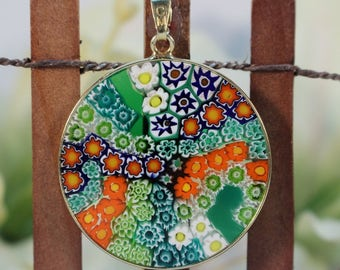 32mm Authentic Murano Glass Millefiori Pendant 24K Gold Plated Italian Sterling Silver - GRNG2>