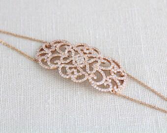 Rose Gold bracelet, Bridal jewelry, Crystal bracelet, Wedding bracelet, Filigree bracelet, Rose gold jewelry, Simple bracelet, Bridesmaids