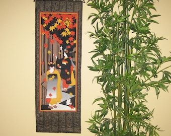 Quilted Wall Hanging Maiko, Cat and Falling Maple Leaves Japanese Asian Design Tenugui Scroll Size