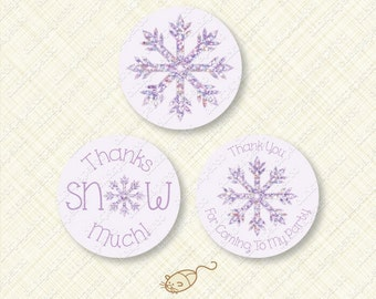 Purple Snowflake Printable Iridescent Glitter Effect Party Favor Thank You Tag and Cupcake Topper snow winter instant download digital tags
