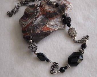 Black glass Bead Chain Necklace