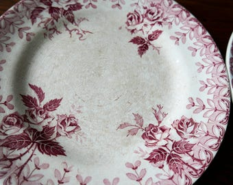 Antique French ironstone plate-Red transferware-Tea stained ironstone-Faiences Porcelaines-Shabby plate collectible plate-craquelure