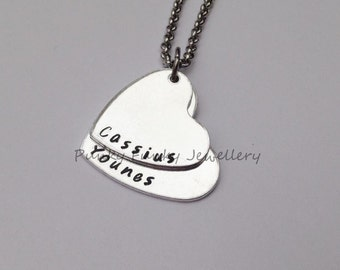 Two heart necklace - personalised - stacked - hand stamped pendant - children's names - gift for Mum of twins - anniversary necklace