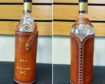 Leather wine bottle, wine gifts,wine rack,wine bottle decor,gift for her, gift for him, leather sling, leather carrier, hiking, camping,
