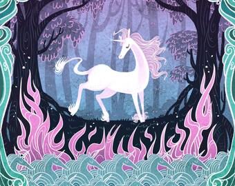 She is the Last 8x12 in unicorn art print
