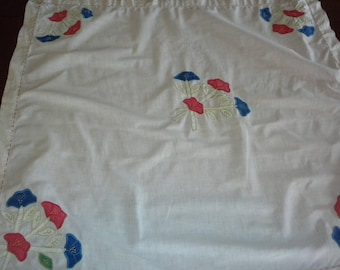 Vintage appliqued hand embroidered kitchen tablecloth repurpose or cottage chic or repair red blue green hand stitch