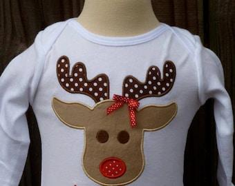 Reindeer Applique Shirt or Onesie Boy or Girl