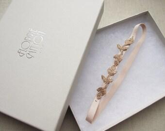 Enchanted rose gold leaf wedding garter with swarovski crystals, rose gold garter, blush rose gold garter, rose gold bridal lingerie