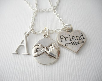 Pinky Promise, Friend- Initial Necklace/ Pinky Swear, teen, Gift Ideas, Birthday Gift, bff jewelry, Personalized Friend, gift for bff