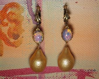 Sunrise on Golden Pond Vintage Fire Opal earrings with golden teardrops