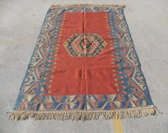 """Turkish Kilim, 62"""" x 100"""", Kilim rug, Vintage Turkish kilim rug,  area rug, kelim, vintage bohemian rug, Turkish rug,"""