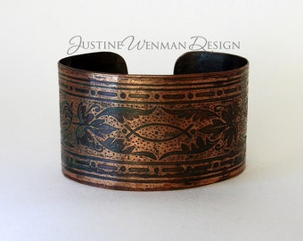 Copper Cuff Etched with Fish Motif, Antiqued, Christian or Pagan Symbol, Flora, Woman's Bracelet