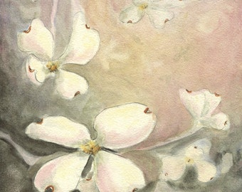 Dogwood painting, original watercolor on Aquabord, 5 x 7 inches, ready to frame