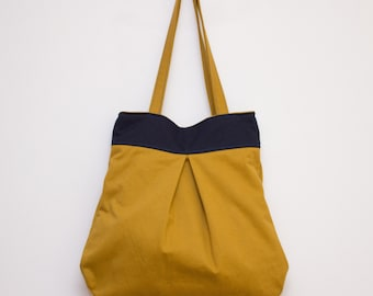 Mustard Yellow bag, Yellow Blue Bag, Large Tote Bag, Yellow Shoulder Bag, Cotton Tote, Blue Yellow Tote, Yello purse Everyday Tote Fall bag