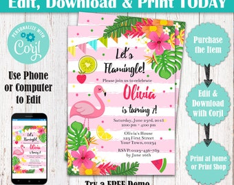 Editable Flamingo Birthday Party Invitation, Let's Flamingle Birthday Invitation, Tropical Luau Hawaiian Pink Flamingo Pool Party Invitation