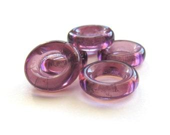 Pretty Amethyst Purple Czech Glass Rings, 14mm - 6 pieces