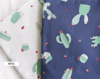 cactus fabric/cute botanical spring fabric/cute cactus/herb fabric/blue cactus fabric/herb fabric/botanical cactus fabric/cactus grey fabric