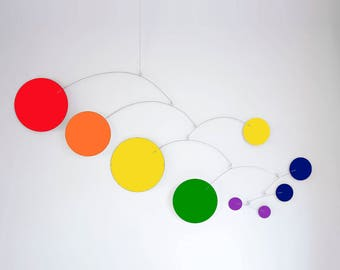 Mod Groovy RAINBOW Hanging Fine Art Mobile - Midcentury Modern Style Custom Handmade Home Decor - Retro Sculpture