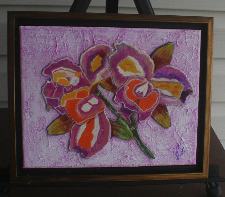 Cuero repujado orquídea púrpura técnica mixta COLLAGE Original