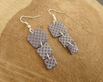 LUNA square purple earrings ultra shiny Fimo