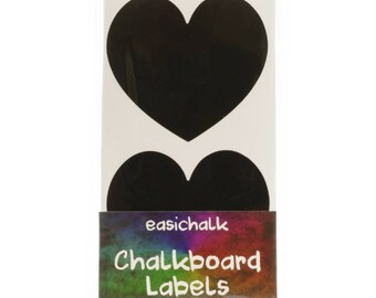12 Large Heart Chalkboard labels