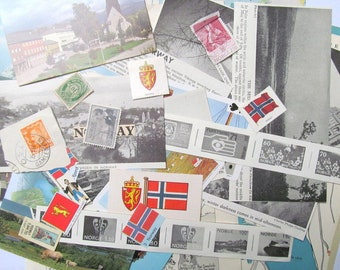 Vintage Norway paper ephemera pack: 30 pieces paper including maps, pictures, stamp. Paper for scrapbooks, travel journal EP866