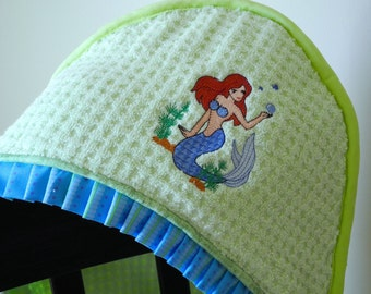 children's hooded towel Ariel-esque mermaid appliqué many colors available baby girl shower gift birthday gift