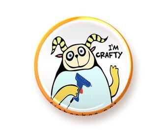 I'm Crafty - round magnet