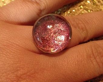 Red Glitter Statement Ring