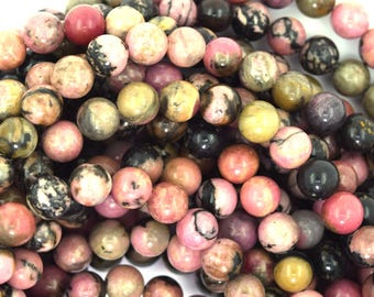 "6mm black pink rhodonite round beads 15.5"" strand 37358"