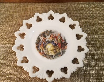 "Vintage Milk Glass ""George and Martha"" Reticulated Decorative Plate - 9 5/8"" Diameter Milk Glass 1940's Scenic Plate"
