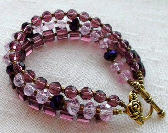Charming Bohemian bracelet purple pink. bracelet three rows. gift for her. gift for women. gift for girlfriend. Christmas gift. for a wife.