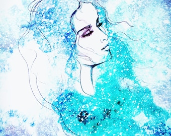 Simple Watercolor Fashion Illustration print. Tears in the sky