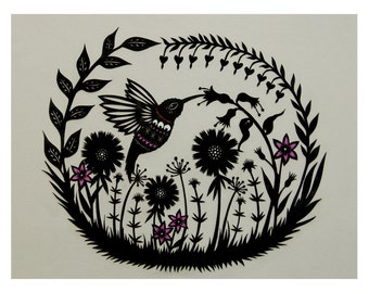 Hummingbird Garden - 11 x 14 inch Cut Paper Art Print
