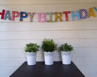 Happy Birthday Banner - a fabric happy birthday banner. Happy birthday bunting,happy birthday sign, celebration banner,wall decor,handmade