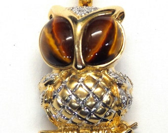 14k Two Tone Gold 0.05 ct Diamond and Tiger Eye Owl Brooch/Pendant #251407294710