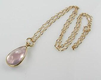 Rose Quartz and Gold Vermeil Pendant Necklace Pastel Pink