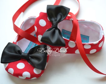 Minnie Inspired Red Polka Dot Baby Shoes with Black Bow Soft Ballerina Slippers Baby Booties