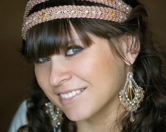 Wedding dual Greek hairband in the art beading elastic and crystal earrings. Double hairband.  Beadwork headband. Gold