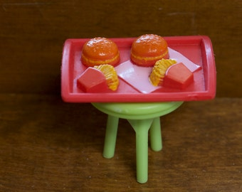 Vintage miniature fast food tray with fries and hamburgers Barbie accessories