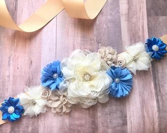 Flower Sash Boy Maternity Sash Blue Pregnancy Sash Gender Reveal Party Baby Shower Gift Keepsake Baby Boy