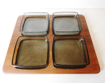 Danish signed Digsmed teak tray with 4 smoke/grey glass dishes