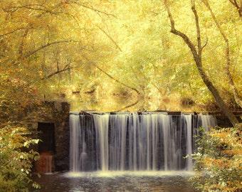 Fall Decor Waterfalls Autumn Leaves Waterfall Wall Art Waterfall Prints Yellow Leaves Photography Fall Foliage Fall Photography