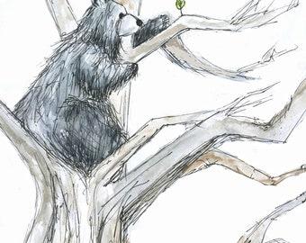 Reaching High Bear Greeting Illustration Art Card - blank inside