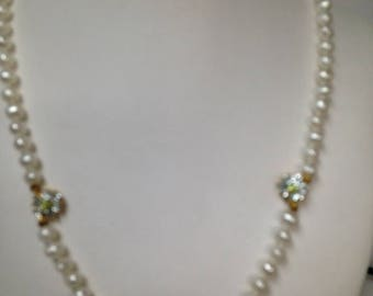 Pear Necklace, Fresh Water Pearls, Pearl and CZ Necklace, Pearls, Necklace, Beaded Necklace