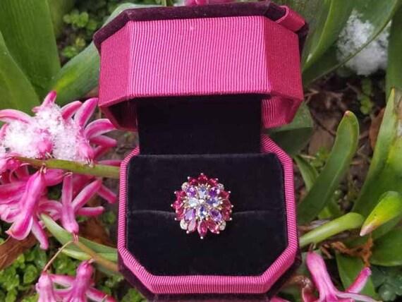 Modern estate gorgeous garnet amethyst marquise, tanzanite pear and diamond statement ballerina halo dome cocktail ring, size 6